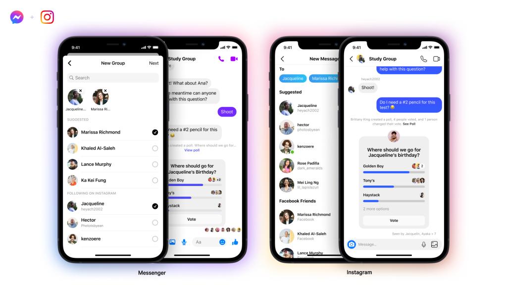 Exemple de conversations entre Messenger et Instagram