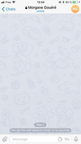 Messagerie secrète, les messages ne sont visible que 10 secondes