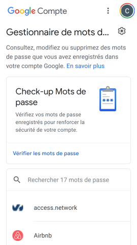 "Page ""mots de passe"" de Google Passwords"