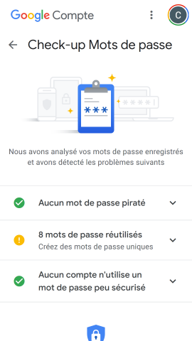 Page Checkup mot de passe Google Passwords