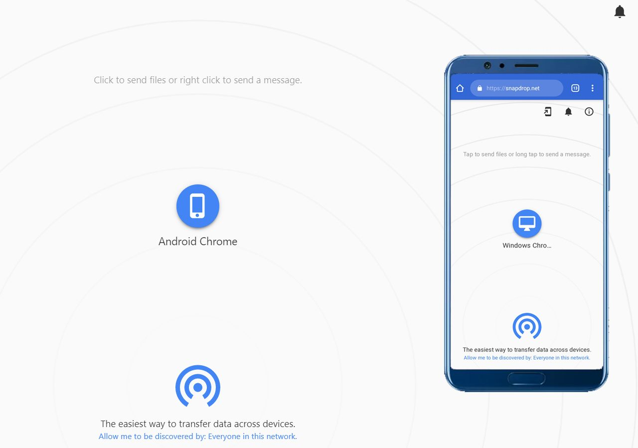Airdrop sur android Snapdrop