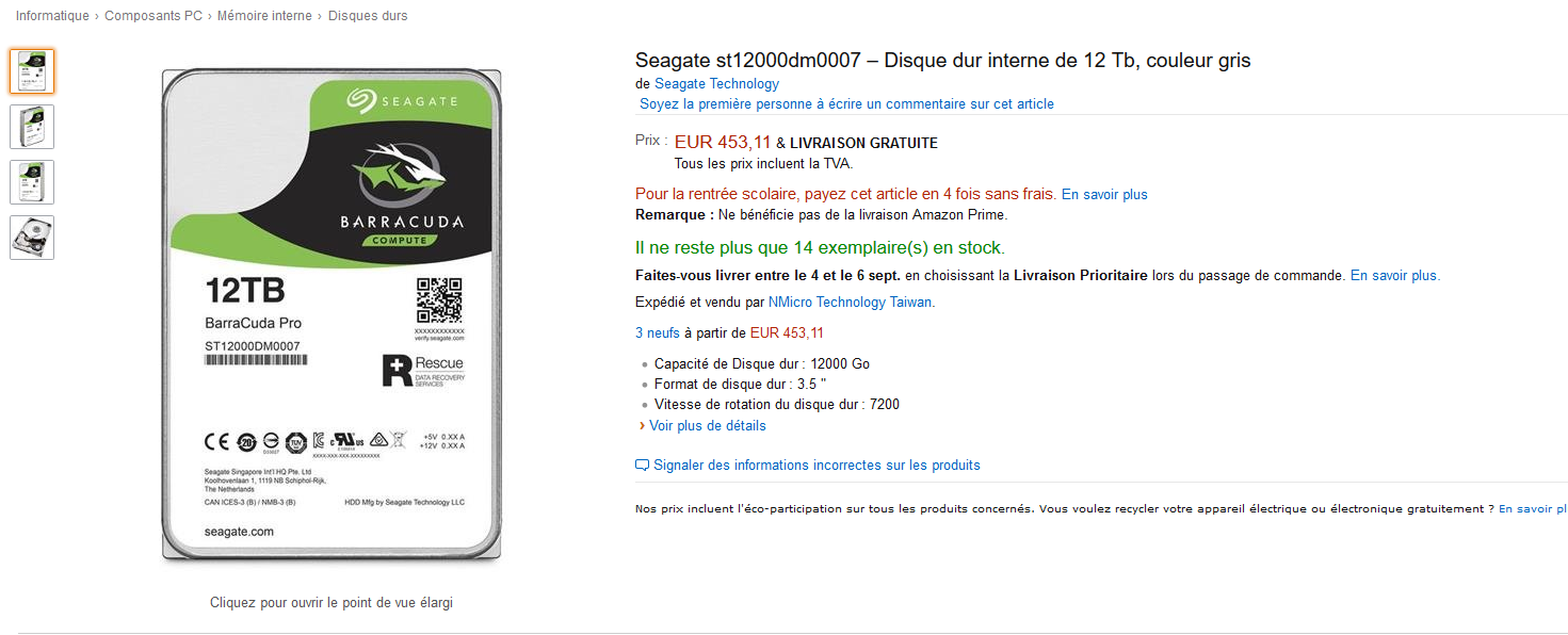Prix amazon BarraCuda Pro 12 TB To Seagate