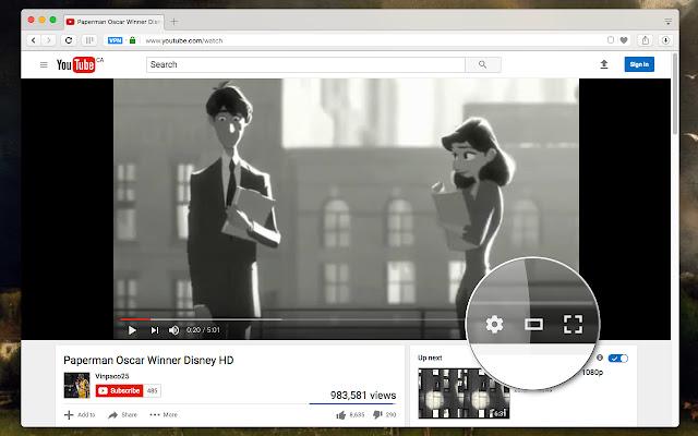 mode cinéma youtube