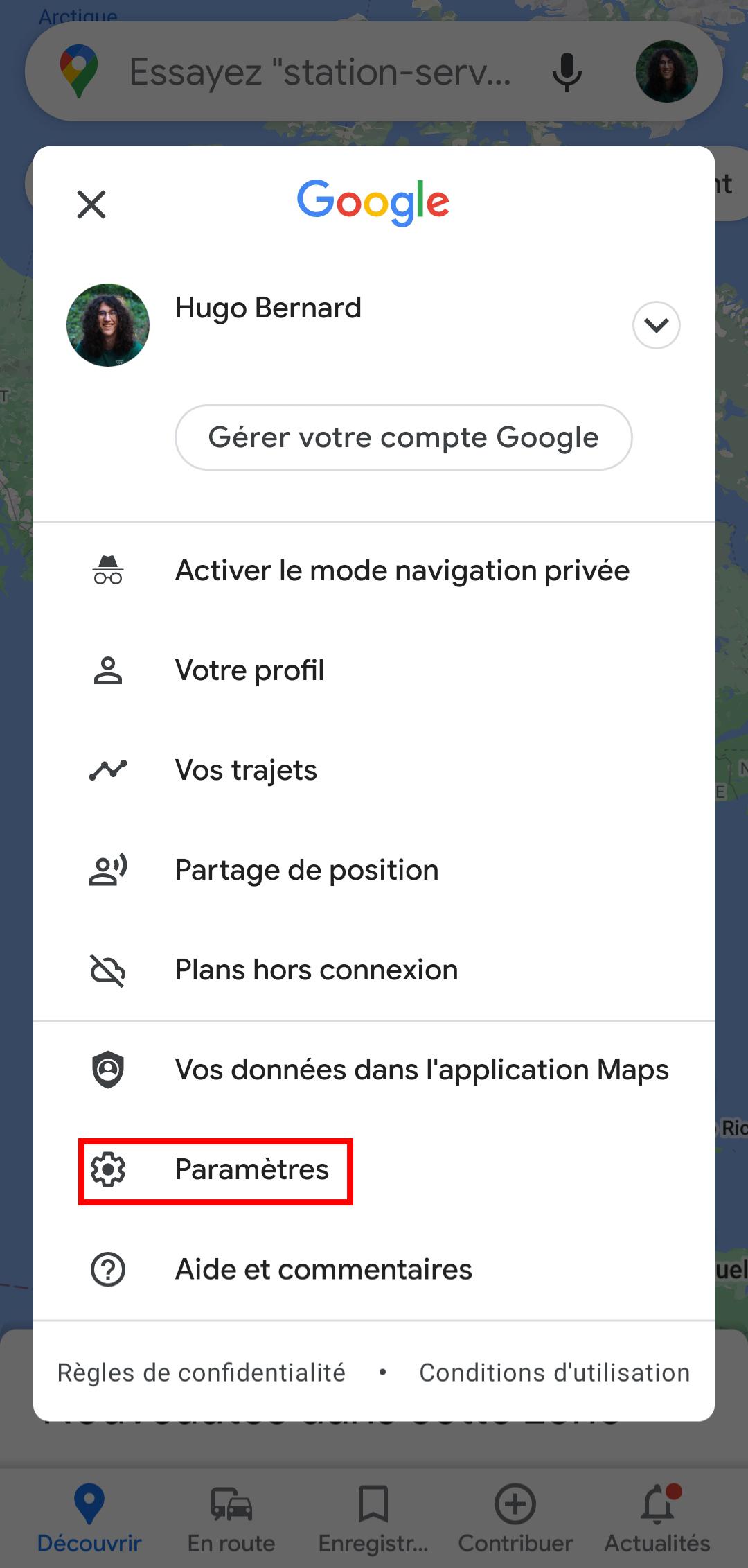 mode sombre google maps