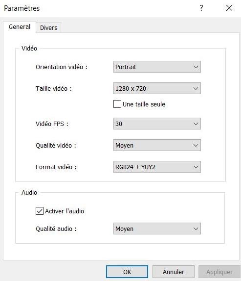 paramètres ivcam