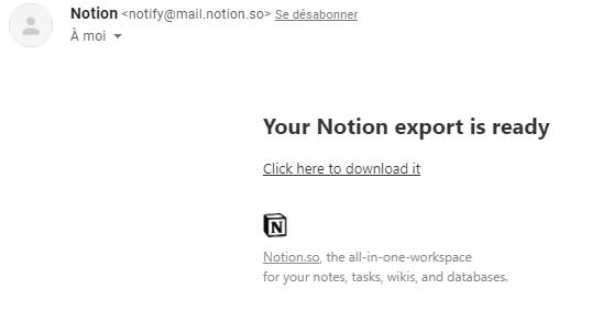 exporter son espace Notion