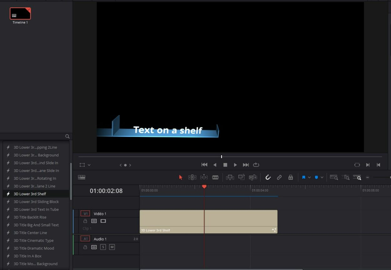 davinci resolve title