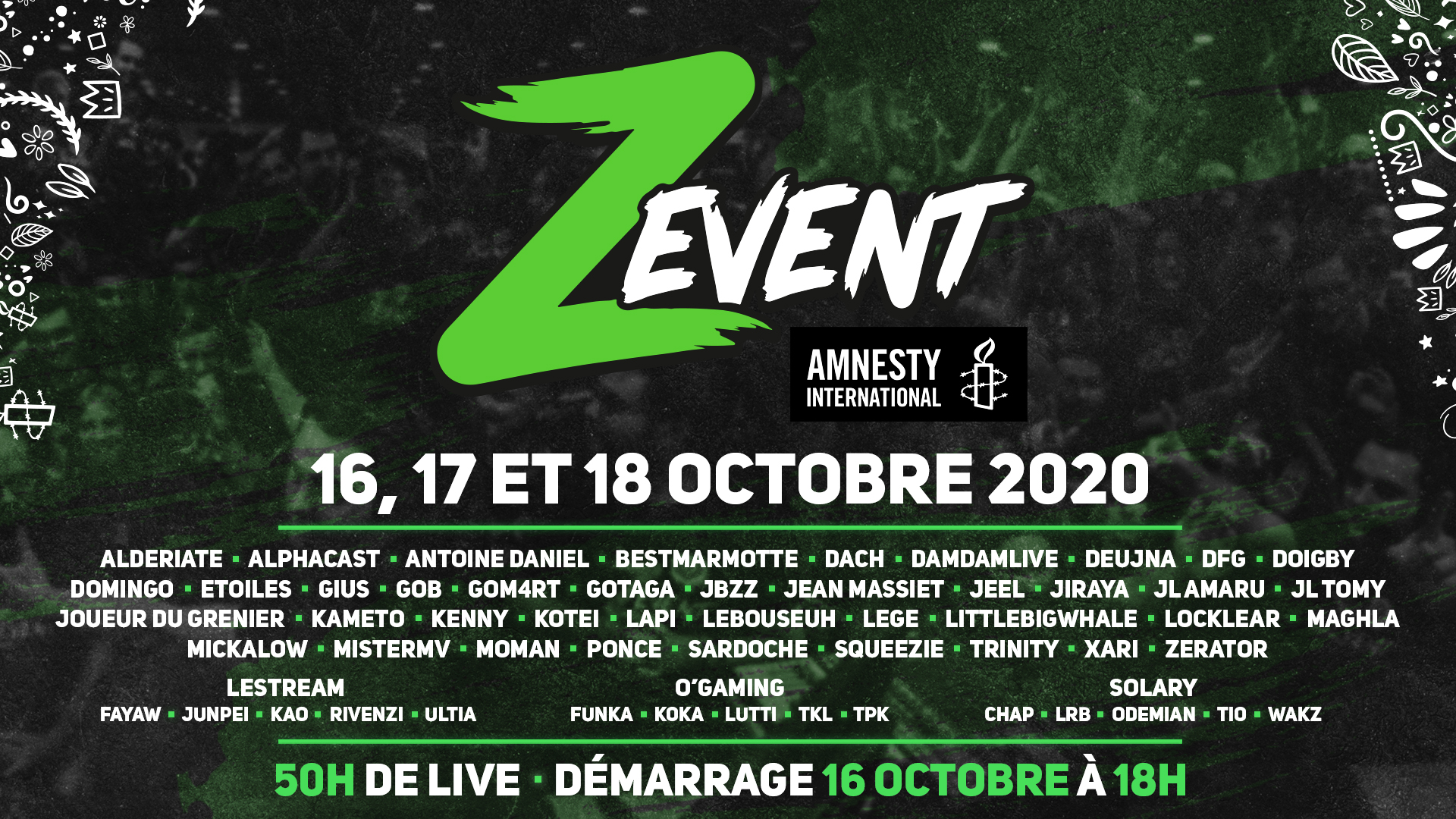 Z Event : l'édition 2020 aura lieu du 16 au 18 octobre au profit d'Amnesty International !